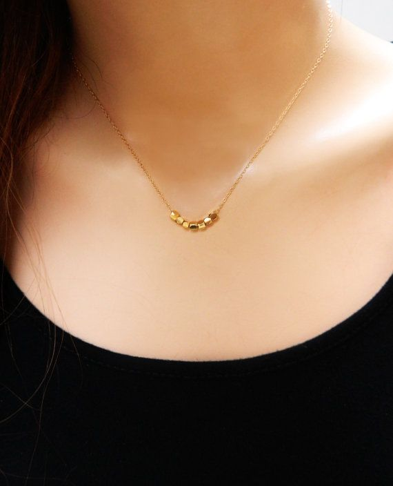 Gold Nuggets Necklace / 14K Gold Filled by BarakaCustomJewelry