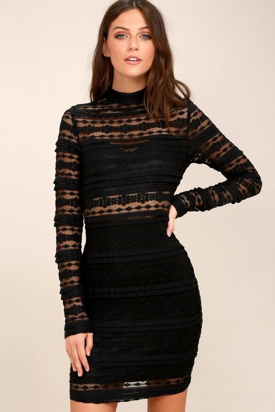 76a96d03863 The night is yours in the Reece Black Lace Long Sleeve Bodycon Dress! Sheer  lace