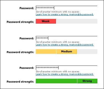 msn password strength meter