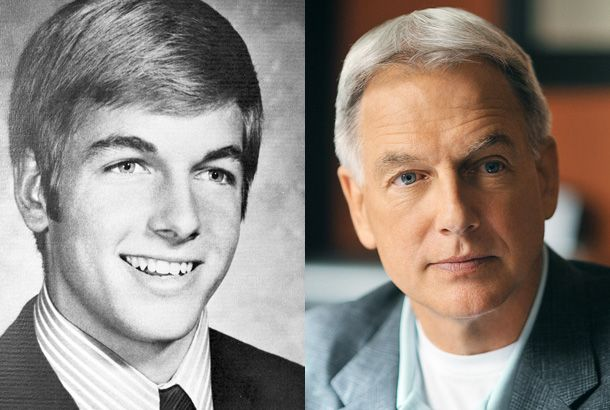 Mark Harmon in a Senior Yearbook Photo from Harvard School in North Hollywood, California, in 1970 and Mark Harmon Now