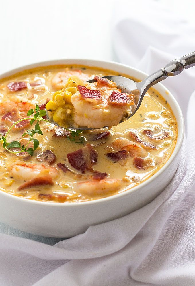Bacon, Shrimp and Corn Chowder - Crispy bacon, perfectly cooked shrimp and corn are the ultimate comfort foods in this creamy chowder!