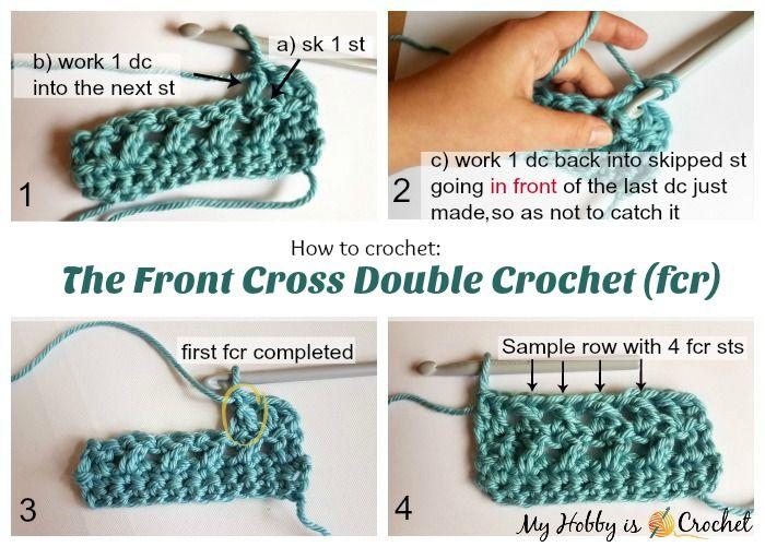 How to crochet the Front Cross Double Crochet - Tutorial on myhobbyiscrochet.com