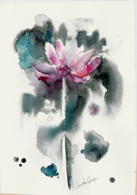 Original Watercolor Painting Pink Flower Abstract by CanotStop, $60.00