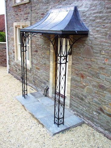 Decorative wrought iron porch