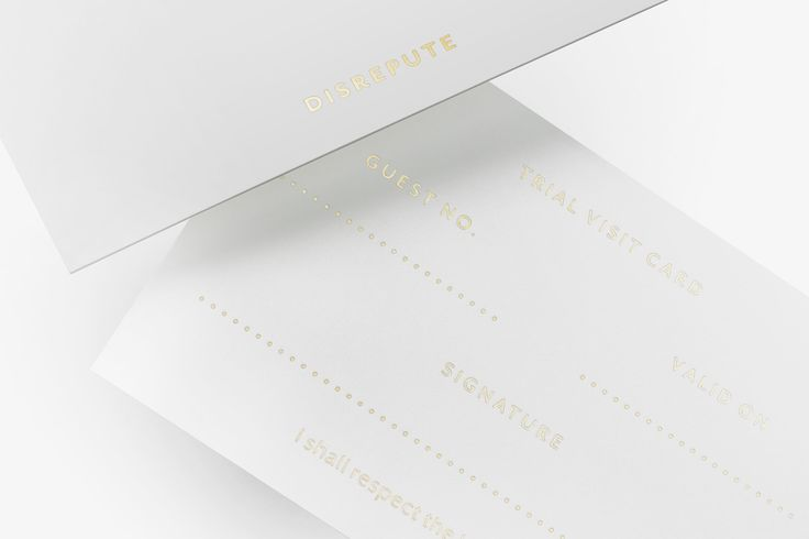 Brand identity and visitor's card with gold foil detail designed by London-based studio Two Times Elliott for Soho members bar Disrepute