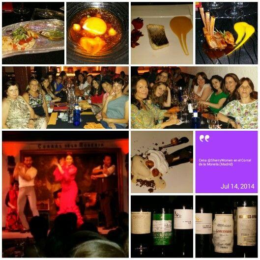 Cena de Sherry Women en el Corral de la Morería de Madrid. Altamente recomendable comida, vinos, servicio y espectáculo.