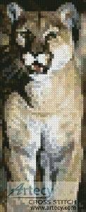 Mountain Lion Bookmark cross stitch pattern.