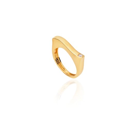 New Diamond Spirit ring in 18KT yellow gold with a shiny finish and diamond.