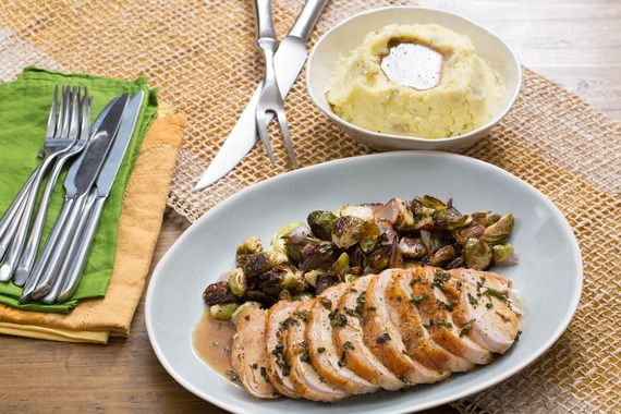 Roasted Turkey & Brussels Sprouts with Mashed Potatoes & Sage Gravy. Visit https://www.blueapron.com/ to receive the ingredients.