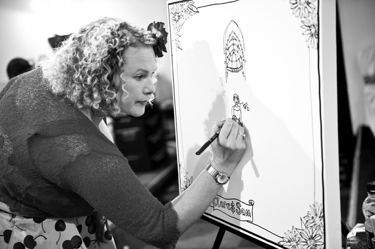Rose Popay draws and paints live at weddings/ events. She often gets the guests to join in
