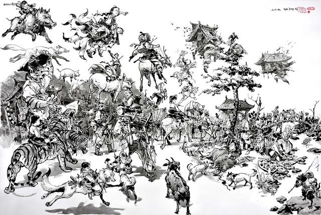Artist: Master JungGi Kim (김정기)  #Yellowmenace: Sketches of Ancient Asia (17 Images) http://yellowmenace8.blogspot.com/2015/05/art-sketches-of-ancient-asia-by-kim.html