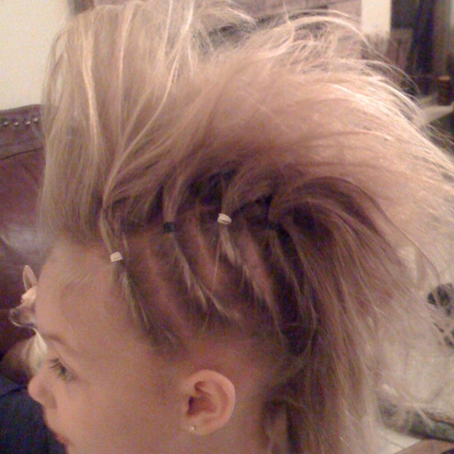 Little girl rock star Mohawk so easy :)