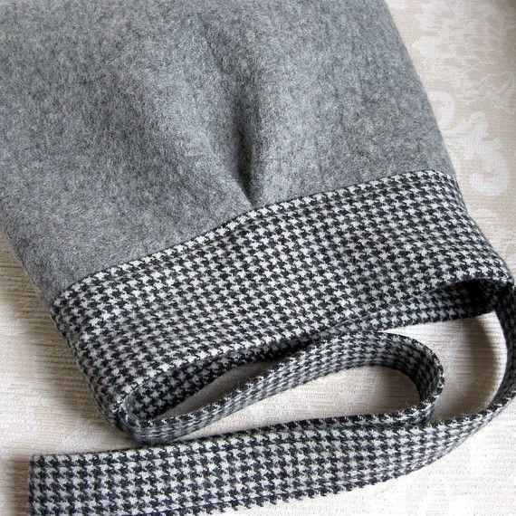 Gray and Houndstooth BELLA, Upcycled Wool Handbag