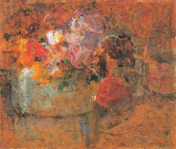 Olga Boznańska, Tulipany w kloszu Po 1920. Olej na tekturze. 37 x 44,5 cm. Własność prywatna.
