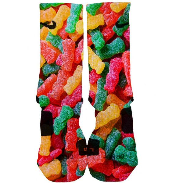 Nike Elite Custom Sour Patch Kids Candies Fast Shipping 2015 featuring polyvore, fashion, clothing, intimates, hosiery, socks, grey, women's clothing, pattern socks, gray socks, dot socks, patterned hosiery and print socks