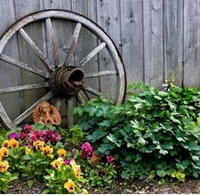 HOW TO MAKE Decorative Wagon Wheels and this link even has directions for the entire wagon!: Wagon Wheels, Garden Ideas, Decorative Wagon, Gardens, Backyard, 4Rustic Garden, Wagonwheels, Old Wagons, Flower