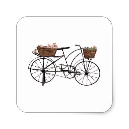 Antique bicycle square sticker - antique gifts stylish cool diy custom