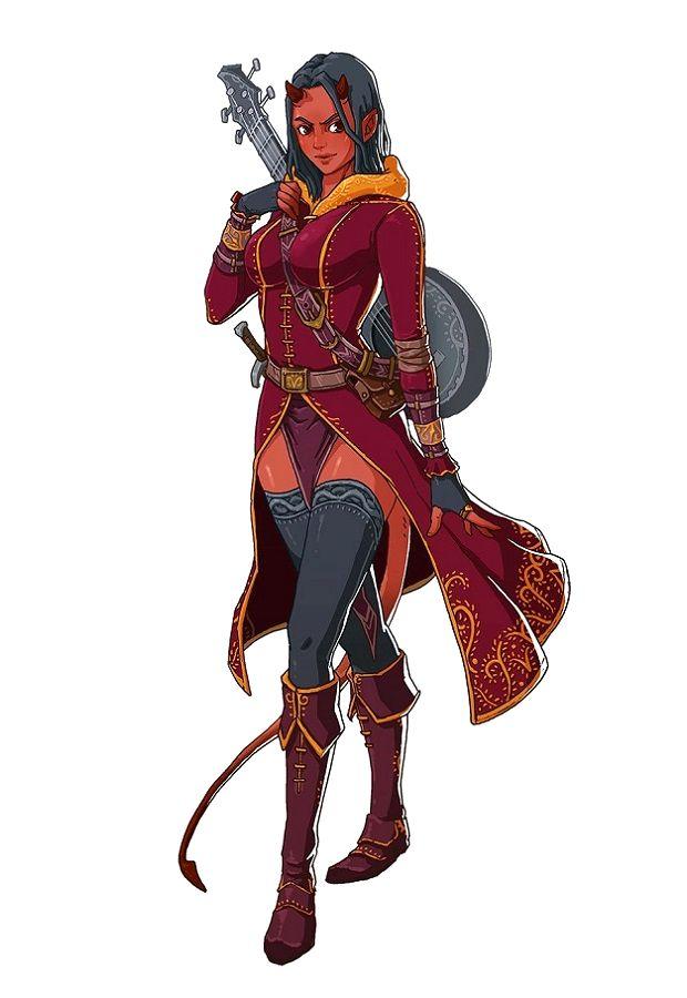 Female Tiefling Bard - Pathfinder PFRPG DND D&D 3.5 5th ed d20 fantasy