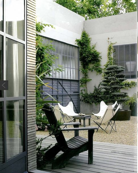 Butterfly Chairs + Industrial Patio