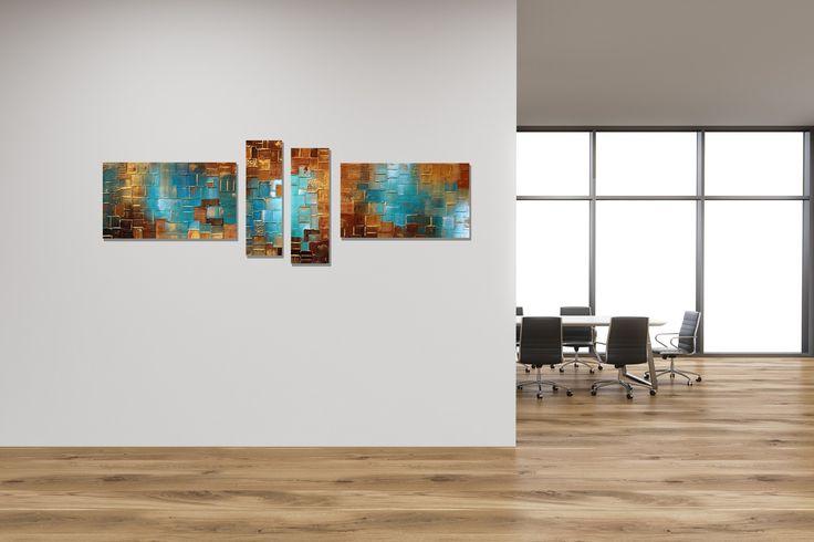 Extra groot acryl vierluik schilderij op canvas van Buttner. Abstract modern schilderij met grof opgezette verf in aqua blauw, goud en bruin. Met 10 cm tussen de panelen is de totale breedte 210 cm. Daarmee geschikt voor een grote muur in je interieur of voor op kantoor