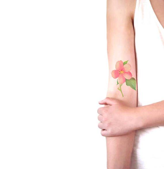 Pink Hibiscus medium temporary tattoo / floral illustration