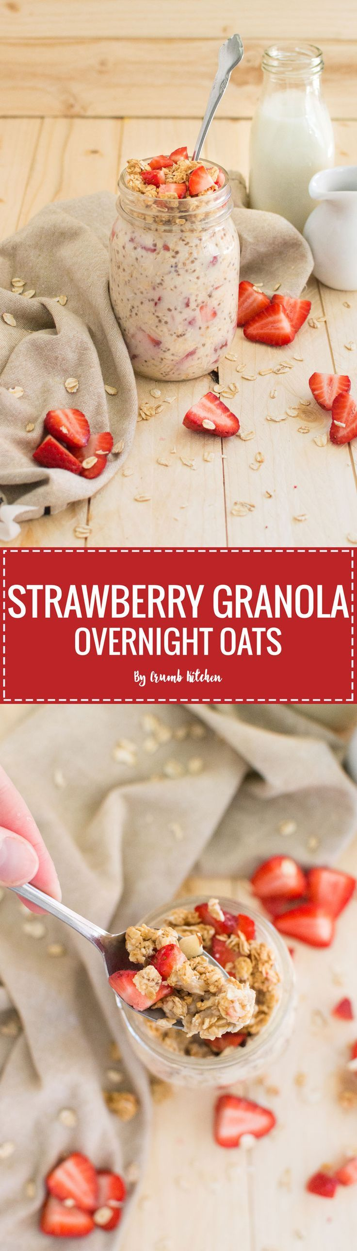 These simple Strawberry Granola Overnight Oats are chock full of large flake oats, chia seeds, almond milk and fresh chopped strawberries. | http://crumbkitchen.com