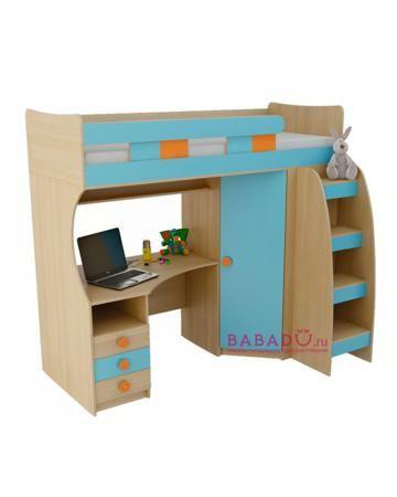 UFOkids 80x200 см с рабочим местом и шкафом Старла  — 27610р. -- Кровать-чердак 80x200 см с рабочим местом и шкафом Старла UFOkids для комнаты дошкольника и школьника. Ложе находится наверху, под ним расположен стол и шкаф.