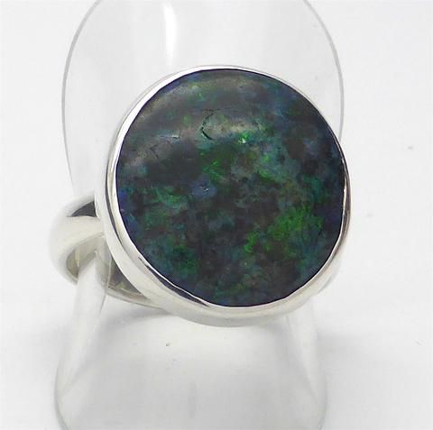 Black Opal Ring | Andamooka | Solid Opal | Green Fire | 925 Sterling Silver | Green Fire | US Size 8 | Cancer Scorpio Pisces Libra | Crystal Heart Australia since 1986