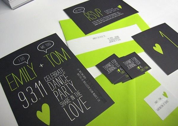 Modern invites: Color Design, Idea, Color Schemes, Bright Color, Green Wall, Black Wedding, Neon Green, Modern Wedding Invitations, Invitations Weddinginvit
