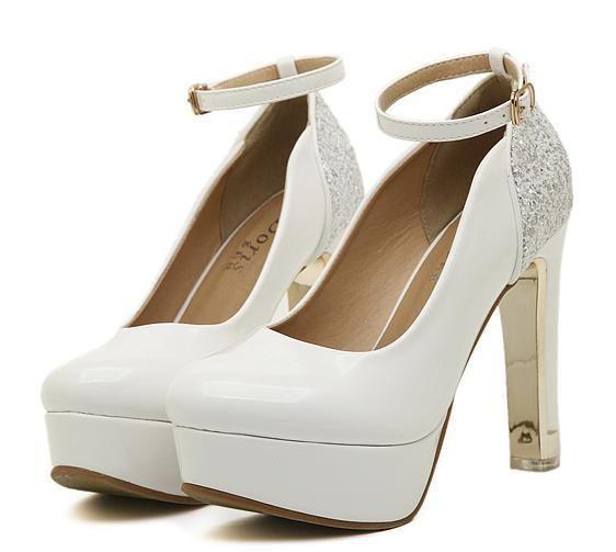 Branca casamento sapatos de glitter lantejoulas sapatos de noiva de tiras no tornozelo grosso do salto alto bombeia 2 cores Tamanho 34 a 39