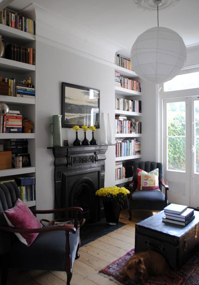 The 25 best ideas about home libraries on pinterest for Small terraced house living room ideas