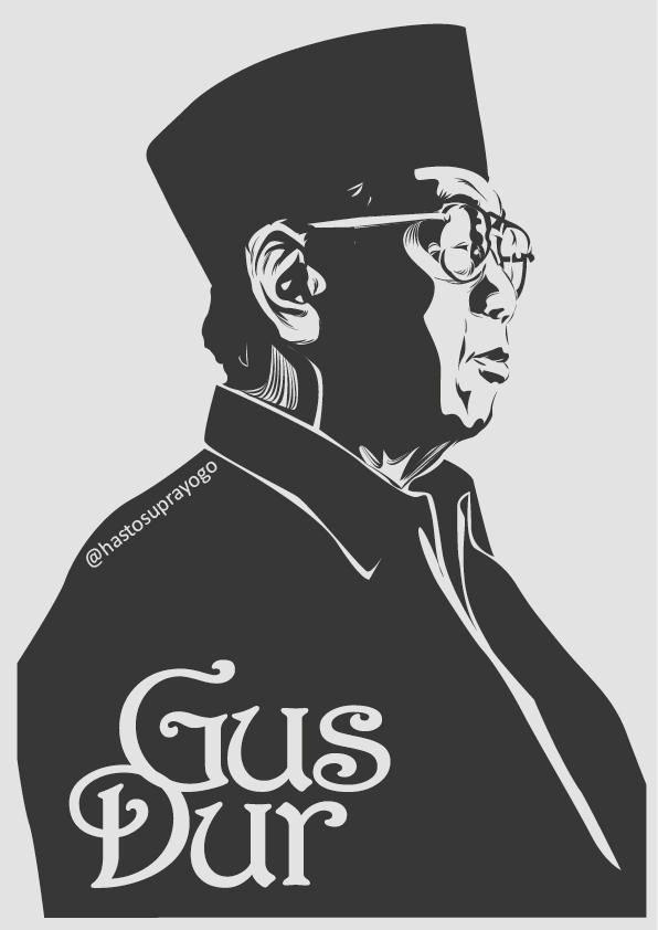 Pejuang Indonesia Vector : pejuang, indonesia, vector, A.k.a, Abdurrahman, Wahid, Portrait, Design,, Inspiration, Drawing,, Comic, Illustration
