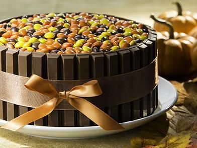Ingredients							1  chocolate layer cake				Chocolate frosting (ready to spread or homemade)				KIT KAT Bars				REESE'S PIECES Candies				F...