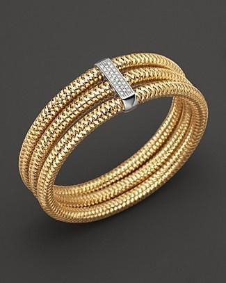 Roberto Coin 18K Yellow Gold Diamond Primavera Bangle | Bloomingdale's