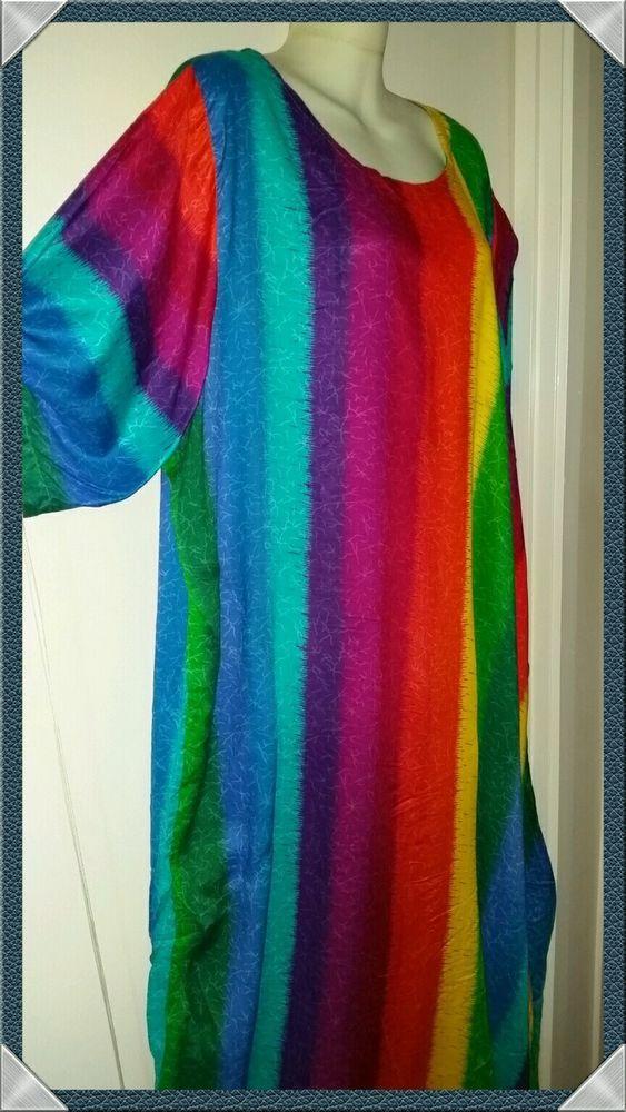 Big Plus long dress Rainbow size 22 24 26 28 Soft rayon item no. 5