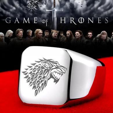 anel  de aço titanium jóia inoxidável game of thrones moda popular  lobo homens