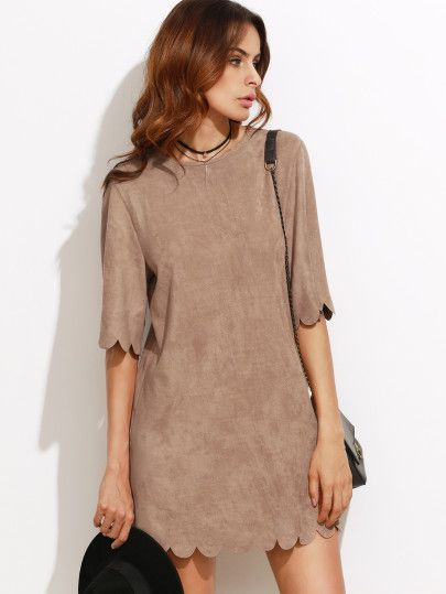 Shop Camel Faux Suede Scallop Mini Dress online. SheIn offers Camel Faux Suede Scallop Mini Dress & more to fit your fashionable needs.