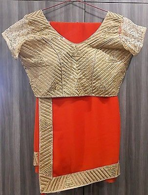 Ethnic indian pakistani bollywood designer saree with stitched readymade blouse