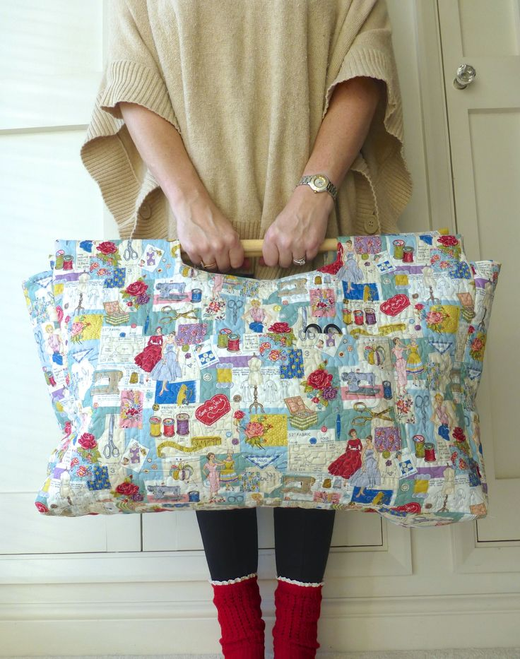 Sewing bag, knitting bag, craft bag, tote with wooden handles