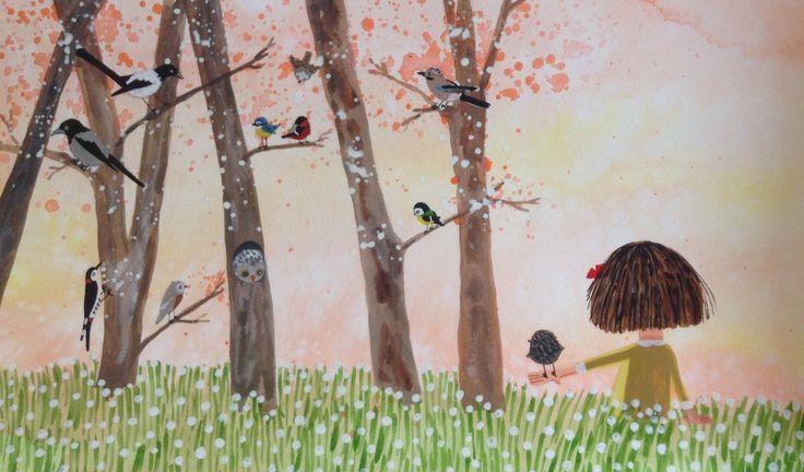 Illustration childrenbook - Elsa har en fågel i handen ( Pixi 2015 Bonnier Carlsen, Sweden ) © Anna-Karin Garhamn