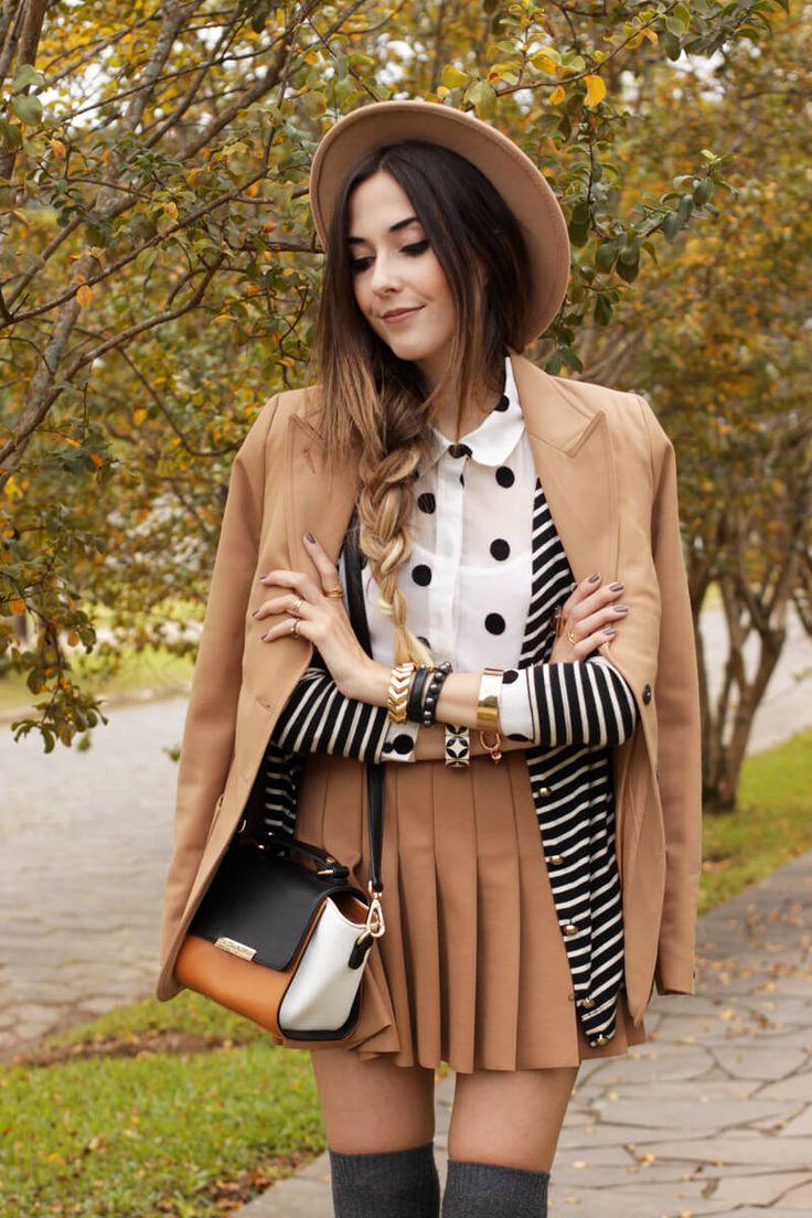 look de outono com mix de estampas em preto e branco + nude!