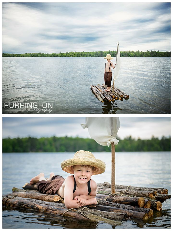 Fun Tom Sawyer and Huck Finn Themed Photo Shoot for a little boy on a river lake creek water with a wood raft and sail.  Costume with straw hat and brown pants and suspenders. Creative unique Idea ideas for child kid photos images © Purrington Photography www.PurringtonPhotography.com Bemidji Northern Minnesota Photographer