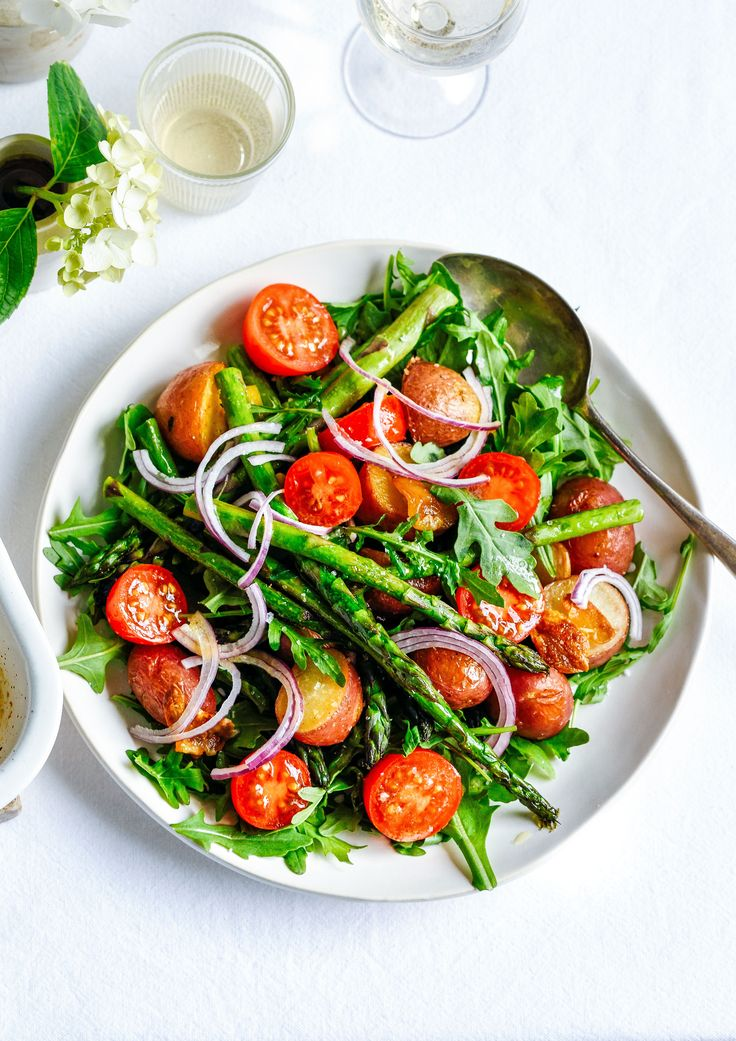 roasted asparagus &  baby red potato salad