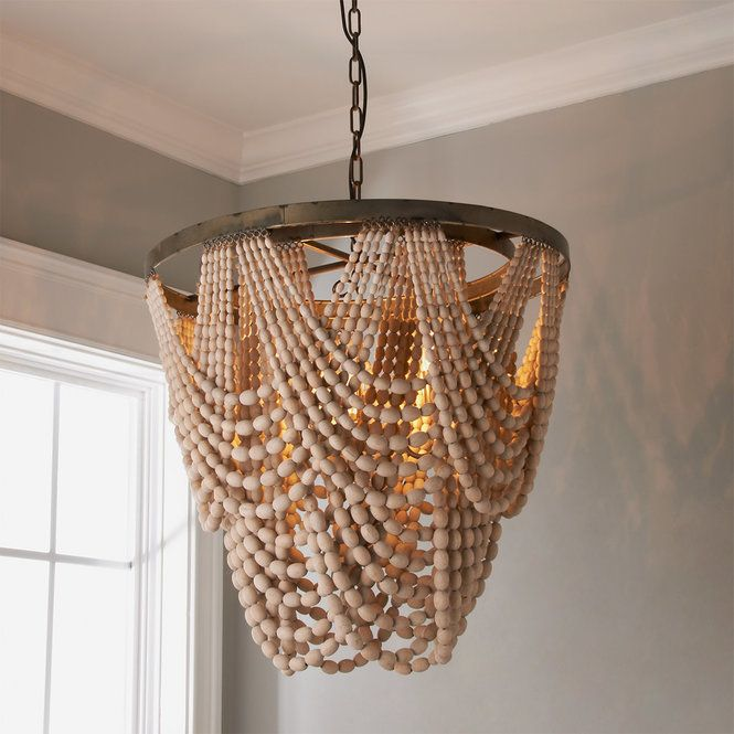 Beaded Drape Curl Chandelier Wood Bead Chandelier Beaded
