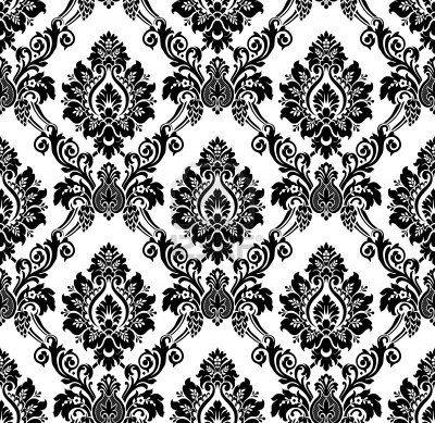 Desktop Wallpaper On Of Vector Seamless Damask Pattern Vintage Black And White