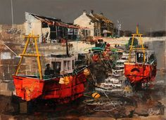 023 Red Fishing Boats Lyme Regis 16x22 Mike Bernard
