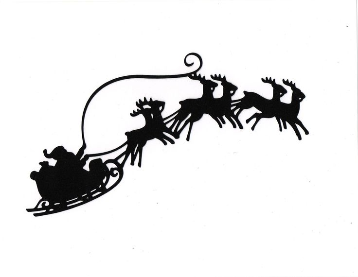Image detail for -LARGE Santa Sleigh reindeer Silhouette die cut for scrapbooking or ...