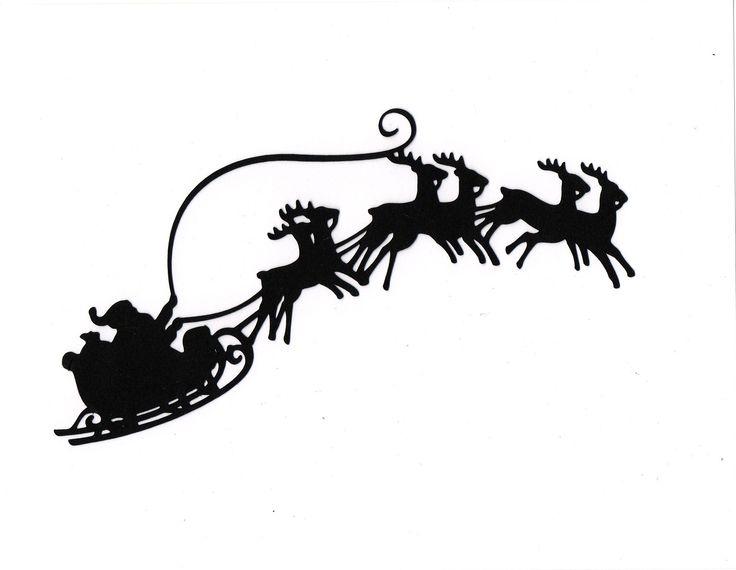 Santa Sleigh reindeer | siluetas | Pinterest | Reindeer ...