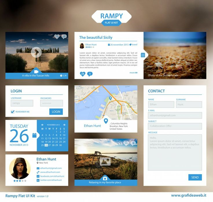 Rampy Flat UI Kit 1.0 - blue version