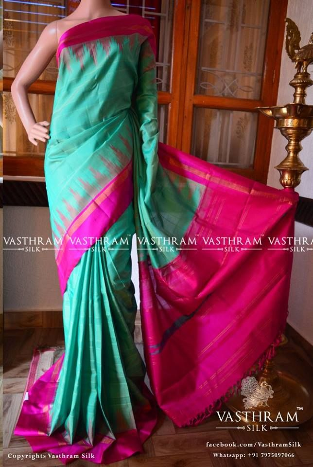 Turque green and pink contrast border with small zari followed by pink Code:O1017KA082522 Cost:12900inr Whatsapp:+91 7019277192